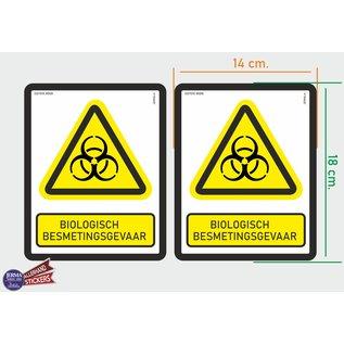 Allerhandestickers.nl ISO7010 W009 biologisch besmettingsgevaar Waarschuwing M set 2 stickers 14x18 cm