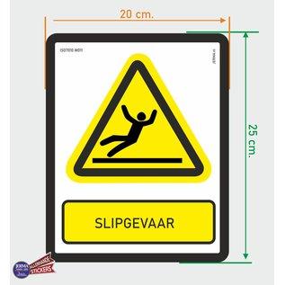 Allerhandestickers.nl ISO7010 W011 slipgevaar Waarschuwing sticker 20x25cm
