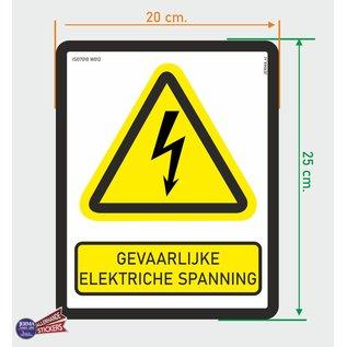 Allerhandestickers.nl ISO7010 W012 Gevaarlijke elektrische spanning Waarschuwing sticker 20x25cm