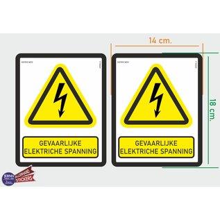 Allerhandestickers.nl ISO7010 W012 Gevaarlijke elektrische spanning Waarschuwing M set 2 stickers 14x18 cm