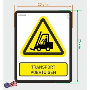 Allerhandestickers.nl ISO 7010 - W014 Transport voertuigen heftruck Waarschuwingssticker 20x25cm