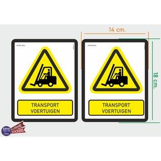Allerhandestickers.nl ISO7010 W014 transportvoertuigen Waarschuwing M set 2 stickers 14x18 cm