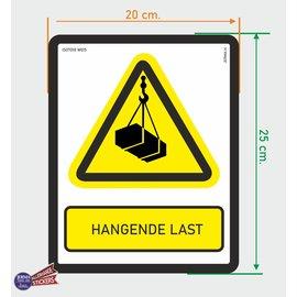 Allerhandestickers.nl ISO7010 W015 hangende last  sticker 20x25cm