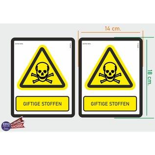 Allerhandestickers.nl ISO7010 W016 giftige stoffen Waarschuwing M set 2 stickers 14x18 cm