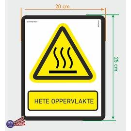 Allerhandestickers.nl ISO7010 W017 hete oppervlakte sticker 20x25cm