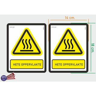 Allerhandestickers.nl ISO7010 W017 hete oppervlakte. Waarschuwing M set 2 stickers 14x18 cm