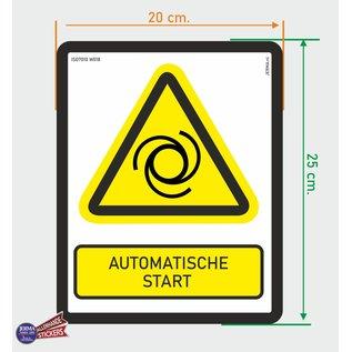 Allerhandestickers.nl ISO7010 W018 automatische start Waarschuwing sticker 20x25cm