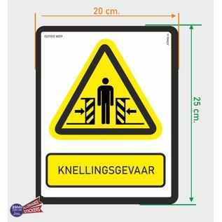 Allerhandestickers.nl ISO7010 W019 Beknellingsgevaar Waarschuwing sticker 20x25cm