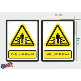 Allerhandestickers.nl ISO7010 W019  Beknellingsgevaar M set 2 st