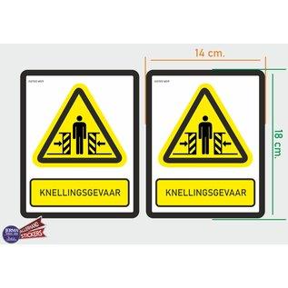 Allerhandestickers.nl ISO7010 W019 knellingsgevaar Waarschuwing M set 2 stickers 14x18 cm