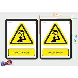 Allerhandestickers.nl ISO7010 W020 stootgevaar M set 2 st