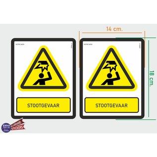 Allerhandestickers.nl ISO7010 W020 stootgevaar Waarschuwing M set 2 stickers 14x18 cm