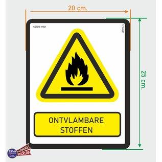 Allerhandestickers.nl ISO7010 W021 ontvlambare stoffen Waarschuwing sticker 20x25cm