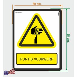 Allerhandestickers.nl ISO7010 W022 puntig voorwerp sticker 20x25cm