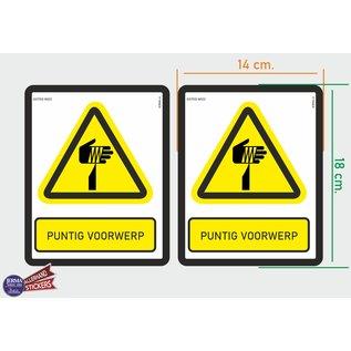 Allerhandestickers.nl ISO7010 W022 puntig voorwerp Waarschuwing M set 2 stickers 14x18 cm