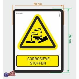 Allerhandestickers.nl ISO7010 W023 corrosieve stoffen  sticker 20x25cm