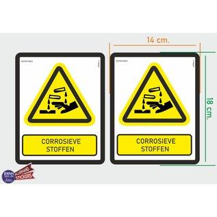 Allerhandestickers.nl ISO7010 W023 corrosieve stoffen Waarschuwing M set 2 stickers 14x18 cm