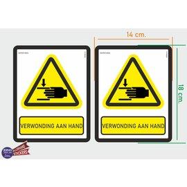 Allerhandestickers.nl ISO7010 W024 verwonding aan hand M set 2 st