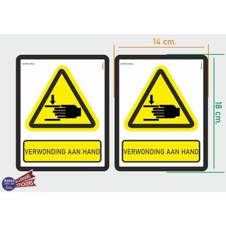 Allerhandestickers.nl ISO7010 W024 verwonding aan hand Waarschuwing M set 2 stickers 14x18 cm