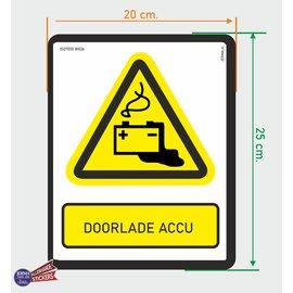 Allerhandestickers.nl ISO7010 W026 door laden accu  sticker 20x25cm