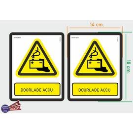 Allerhandestickers.nl ISO7010 W026 door laden accu  M set 2 st