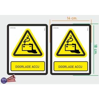 Allerhandestickers.nl ISO7010 W026 door laden accu Waarschuwing M set 2 stickers 14x18 cm