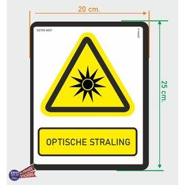 Allerhandestickers.nl ISO7010 W027 optische straling  sticker 20x25cm