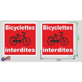 Allerhandestickers.nl Bicyclettes interdites (F) 2 stickers van 14x14 cm.