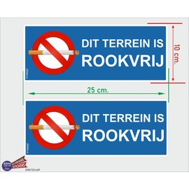 Allerhandestickers.nl Dit terrein is rookvrij set 2 stickers