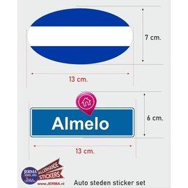 Allerhandestickers.nl Almelo steden vlaggen auto stickers set van 2