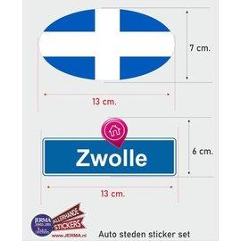 Allerhandestickers.nl Zwolle steden vlaggen auto stickers set van 2