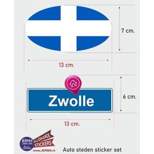 Allerhandestickers.nl Zwolle steden vlaggen auto stickers set van 2 stickers