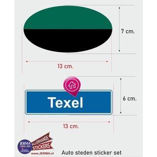 Allerhandestickers.nl Texel eiland vlaggen auto stickers set van 2 stickers