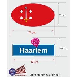 Allerhandestickers.nl Haarlem steden vlaggen auto stickers set van 2