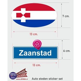 Allerhandestickers.nl Zaanstad steden vlaggen auto stickers set van 2