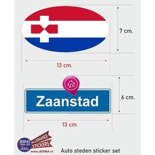 Allerhandestickers.nl Zaanstad steden vlaggen auto stickers set van 2 stickers