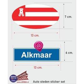 Allerhandestickers.nl Alkmaar steden vlaggen auto stickers set van 2
