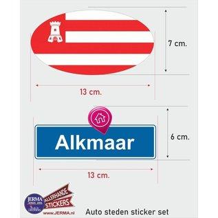 Allerhandestickers.nl Alkmaar steden vlaggen auto stickers set van 2 stickers