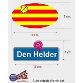 Allerhandestickers.nl Den Helder steden vlaggen auto stickers set van 2