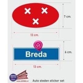 Allerhandestickers.nl Breda steden vlaggen auto stickers set van 2
