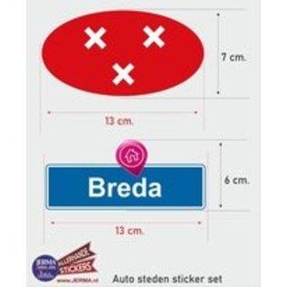 Allerhandestickers.nl Breda steden vlaggen auto stickers set van 2 stickers
