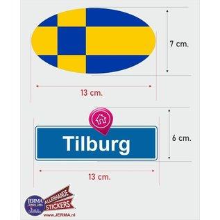 Allerhandestickers.nl Tilburg steden vlaggen auto stickers set van 2 stickers