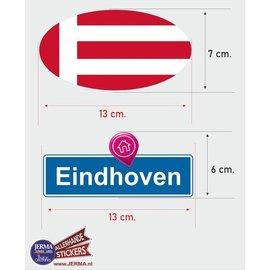 Allerhandestickers.nl Eindhoven steden vlaggen auto stickers set van 2