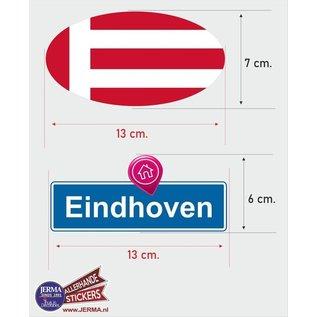 Allerhandestickers.nl Eindhoven steden vlaggen auto stickers set van 2 stickers