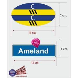 Allerhandestickers.nl Ameland eiland vlaggen auto stickers set van 2