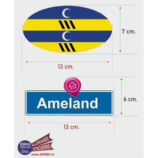 Allerhandestickers.nl Ameland eiland vlaggen auto stickers set van 2 stickers