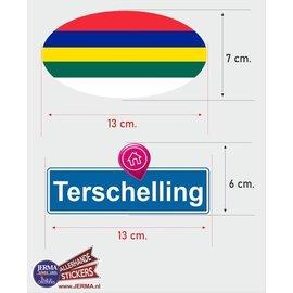 Allerhandestickers.nl Terschelling eiland vlaggen auto stickers set van 2