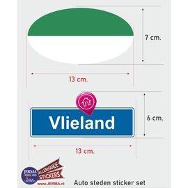 Allerhandestickers.nl Vlieland vlaggen auto stickers set van 2 stickers