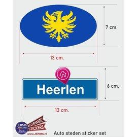 Allerhandestickers.nl Heerlen steden vlaggen auto stickers set van 2