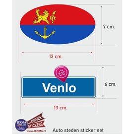 Allerhandestickers.nl Venlo steden vlaggen auto stickers set van 2